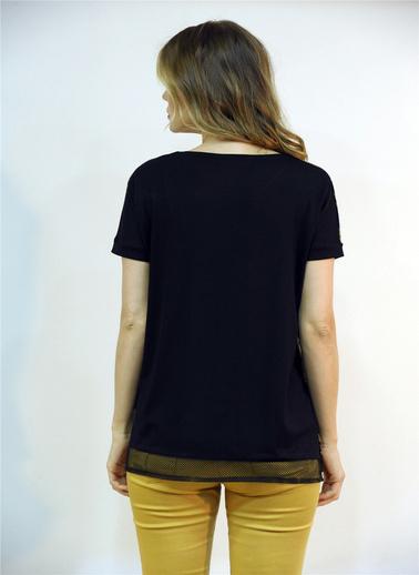 Optique Knitwear Yazı Baskılı Bisiklet Yaka Yarasa Kol Penye Bluz Siyah